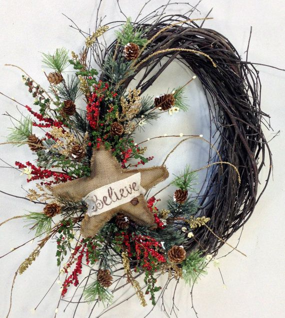 Photo of Christmas Wreath, Holiday Wreath, Star Wreath, Holiday Door Decor, Christmas Decor, Winter Wreath, Woodland Wreath, Birch, Star, Burlap