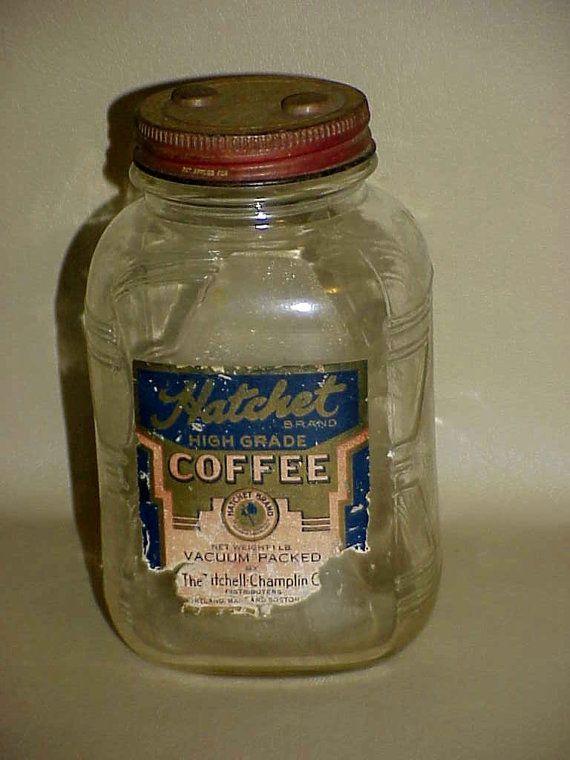 Old Vintage Hatchet Coffee Glass Canister By Nandisneedfulthings Coffee Jars Vintage Coffee Coffee Canister