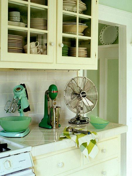 Nostalgic mixers add to the sea colors in this kitchen myhomeideas