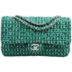 "Chanel Green White Silver Tone Tweed Chain ""Medium Classic Double Flap"" Bag"