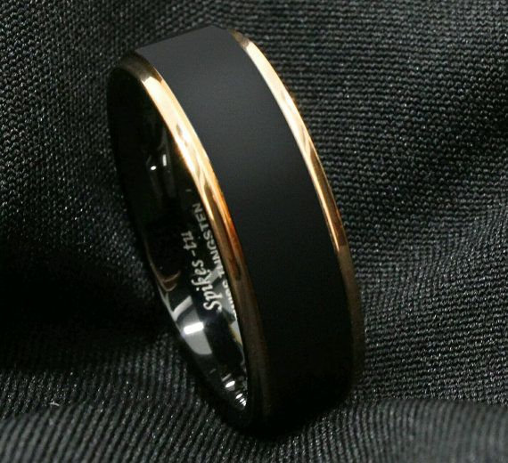 8mm Tungsten Carbide Black With Gold Trim Ring Sizes 6 13 Mens Gold Rings Rose Gold Mens Ring Mens Wedding Rings Black