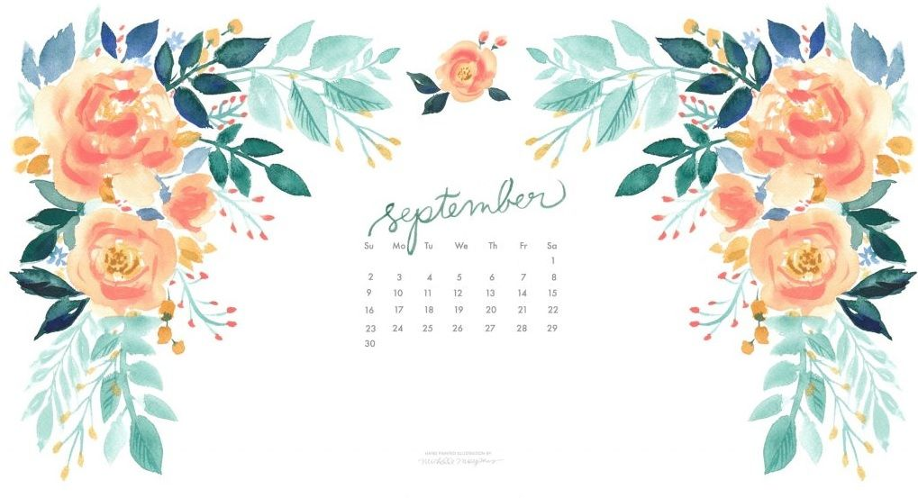 Calendar Desktop Wallpaper September : Floral september calendar wallpapers