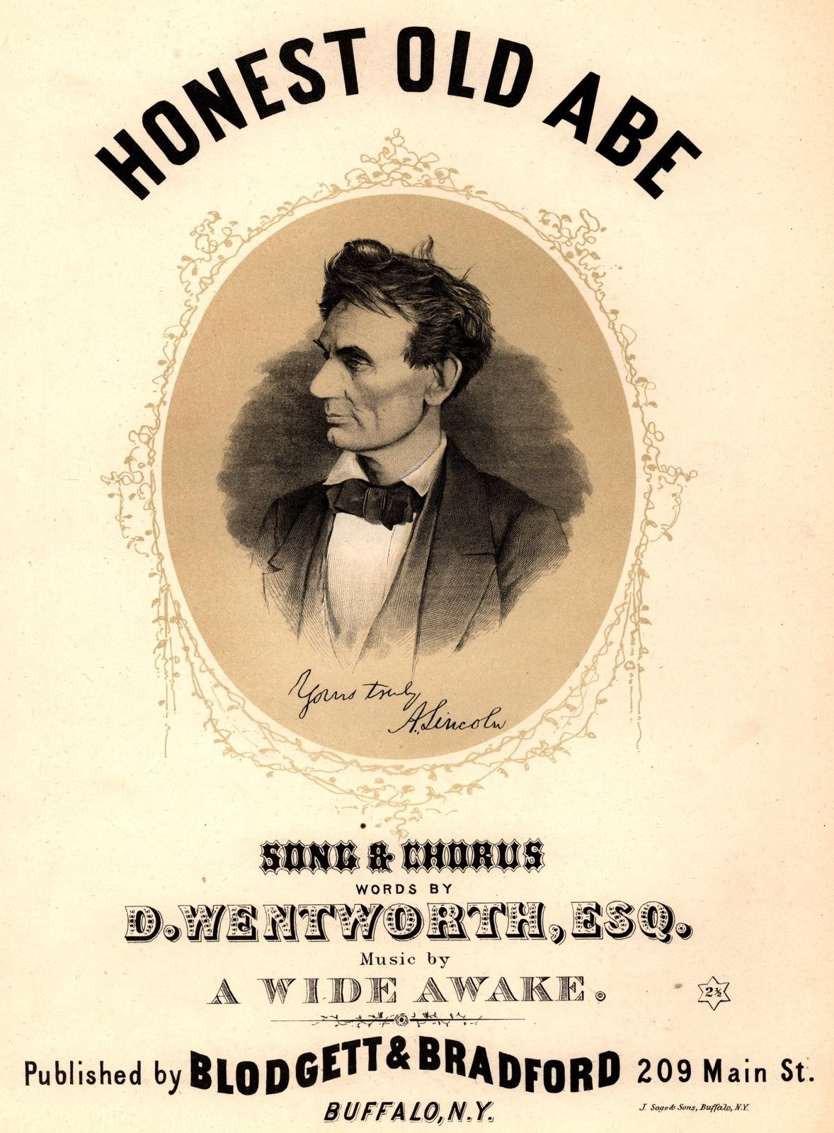 Abraham Lincoln Honest Old Abe Sheet Music Published C 1860 S
