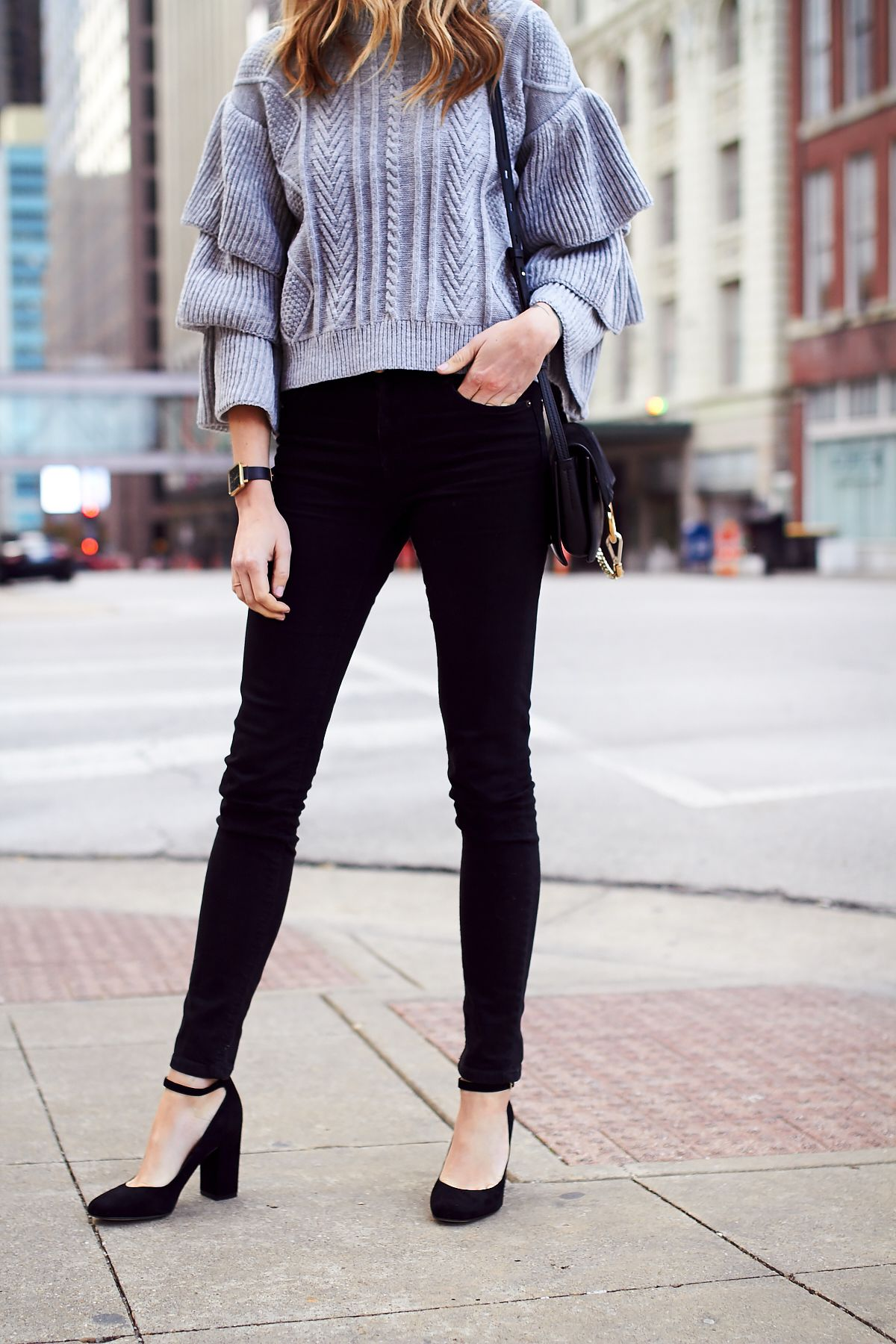 Fall Outfit, Winter Outfit, Grey Ruffle Sleeve Sweater ...