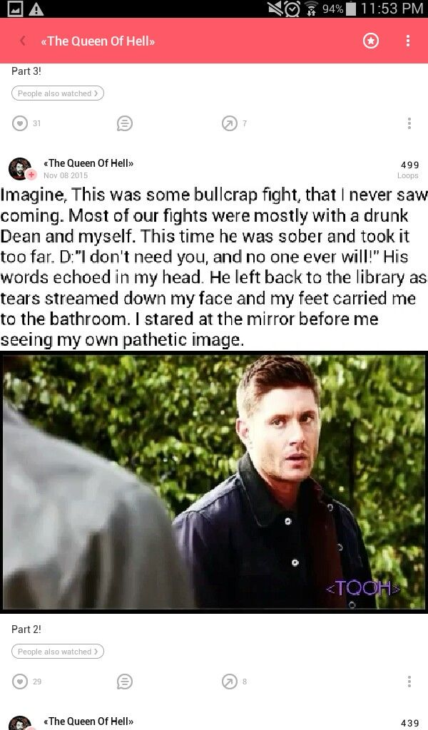 "I took a razor blade off the counter that I kept in a prescription bottle and started cutting myself, I had been doing good with that for a while but after what Dean said I snapped. An hour later Dean walked in feeling guilty and saw me laying passed out on the floor, the blade still in my hand and my arm lightly bleeding, ""No."" Dean mumbled, ""CAS! Oh God what did I do."" His voice cracked as he wrapped my arm and took the blade out of my hand."