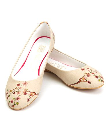 457c9818f Another great find on  zulily! White   Pink Cherry Blossom Ballet Flat by  Goby  zulilyfinds