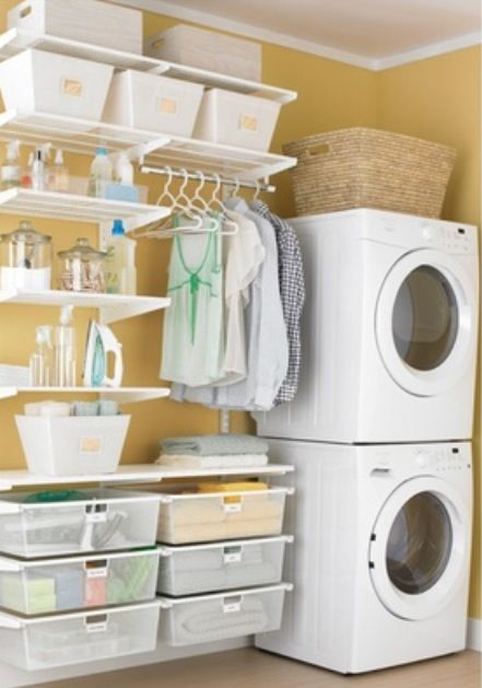 Love the use of storage bins Could use them to divide the laundry