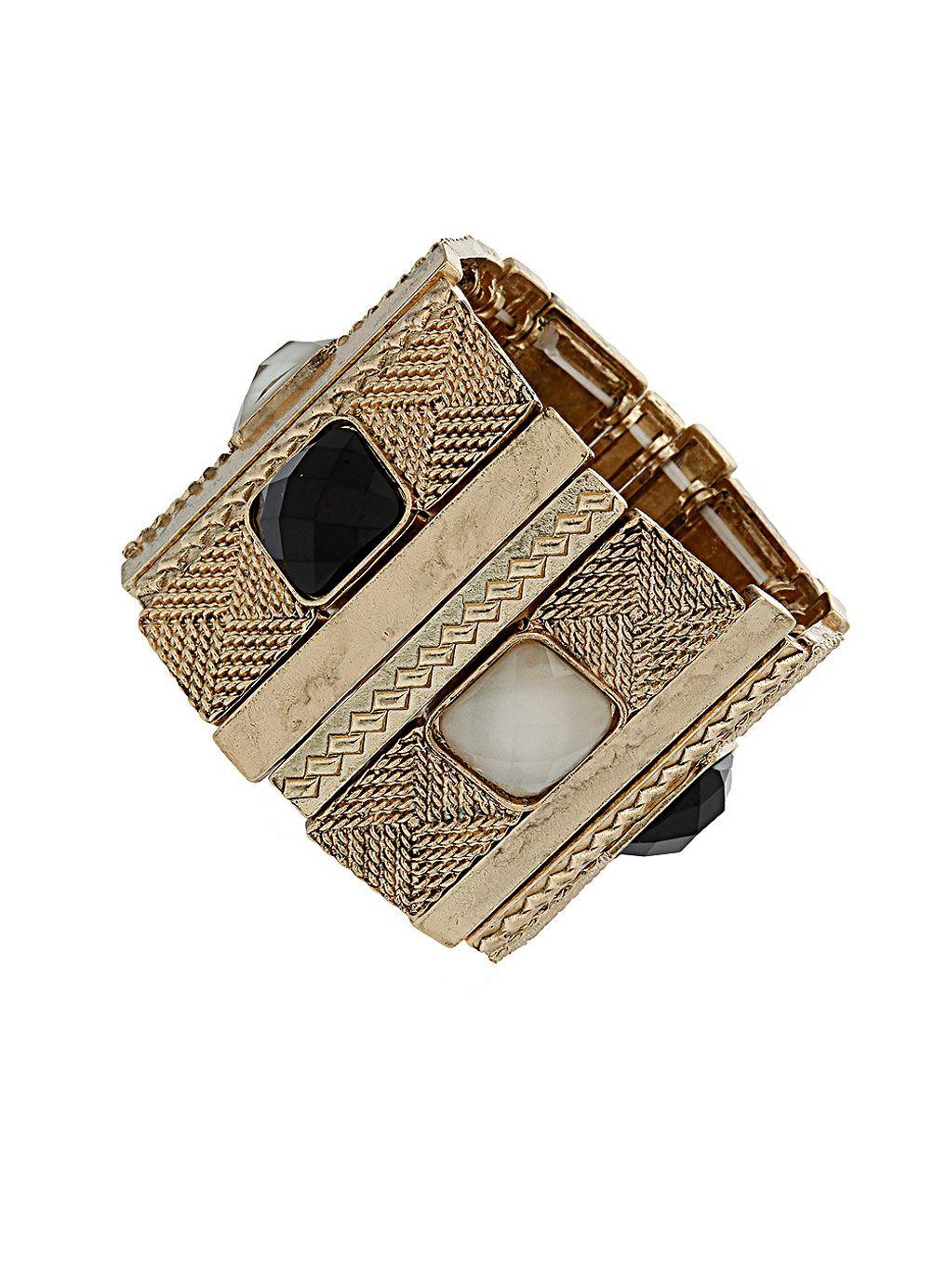Bracelet with cream and black gems