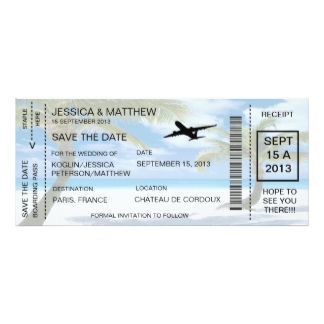 Revised Boarding Pass Save The Date Invitation