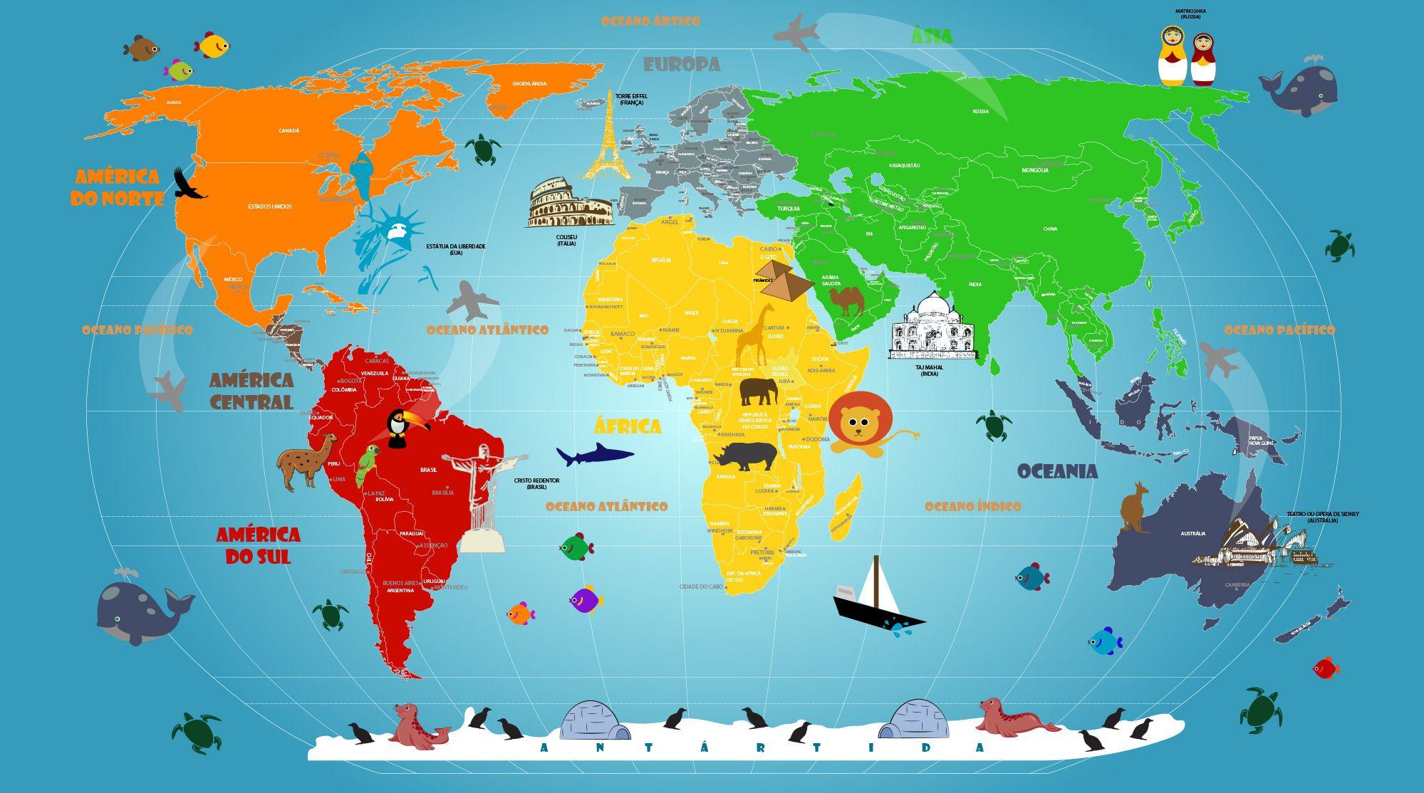 Mapa Mundi Infantil Adesivo Artisticamente Ilustrado Mapa Mundi