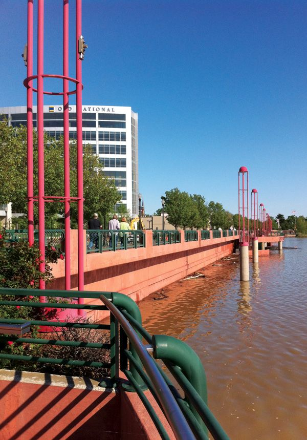 The riverfront in downtown Evansville during last summer's Ohio River flood.