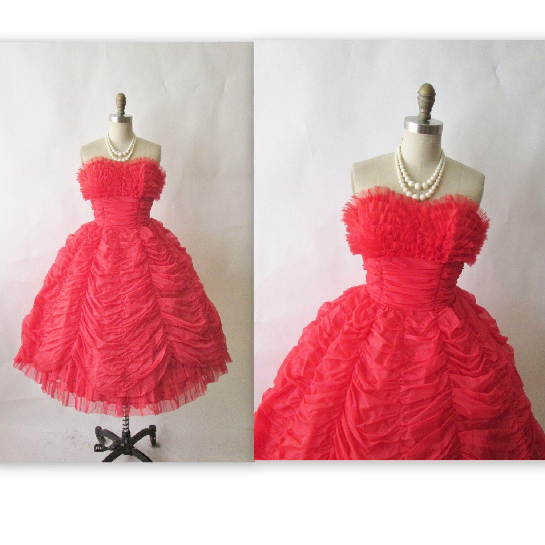 Us prom dress vintage us strapless red chiffon valentineus