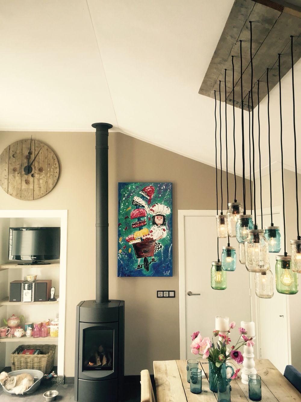 Lamp steigerhout en potten