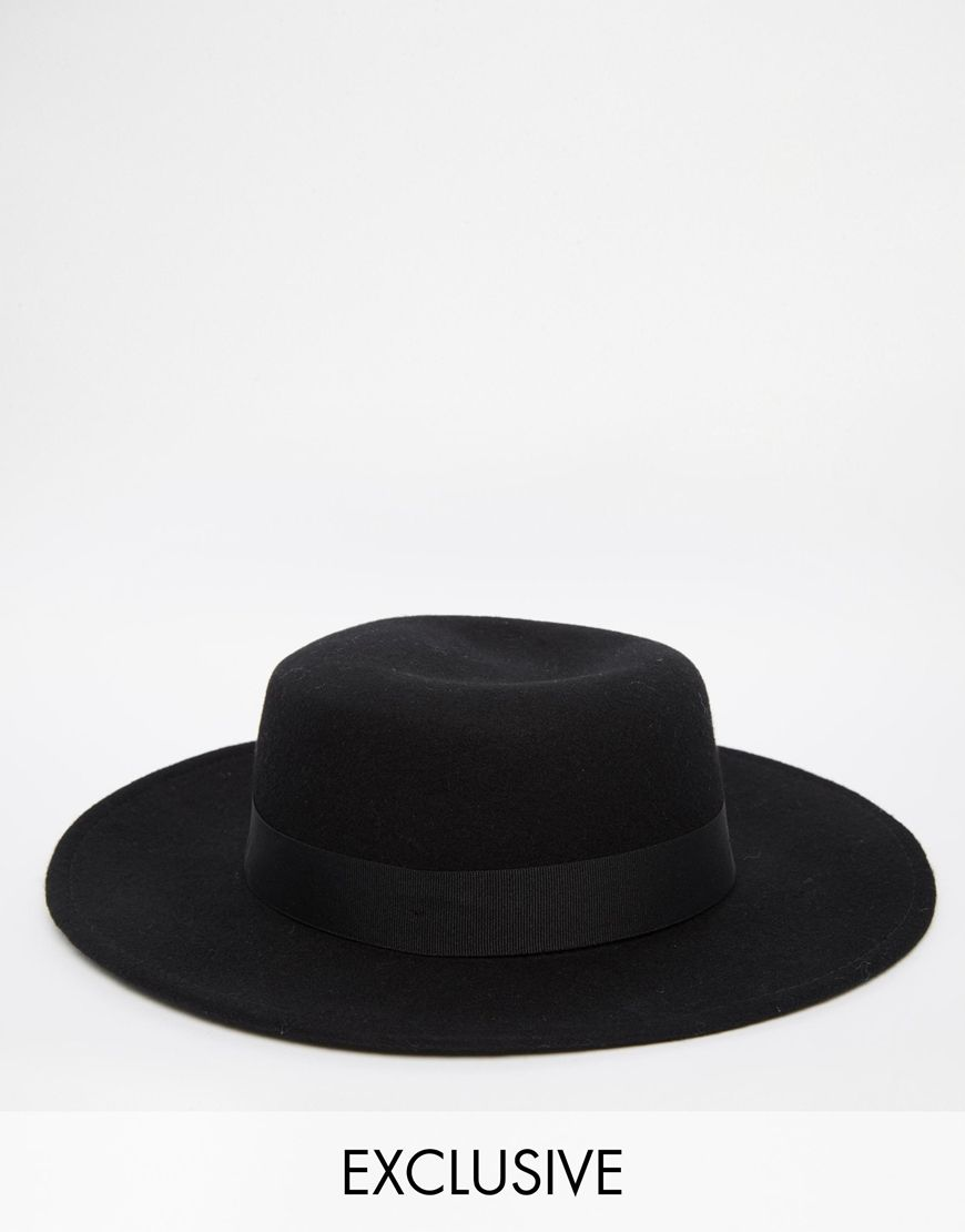 b04550b46a2 Reclaimed Vintage Wool Pork Pie Hat With Wide Brim