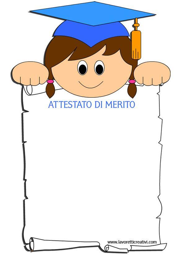 Fine Anno Scolastico Attestato Di Merito Per Bambina Bambini