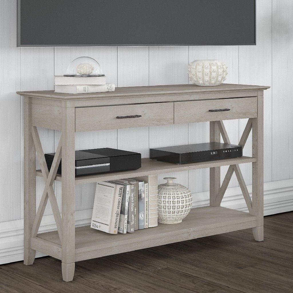 Bush Furniture Key West Console Table W Drawers Shelves In Washed Gray Kwt248wg 03 In 2020 Farmhouse Console Table Living Room Sets Furniture Bush Furniture