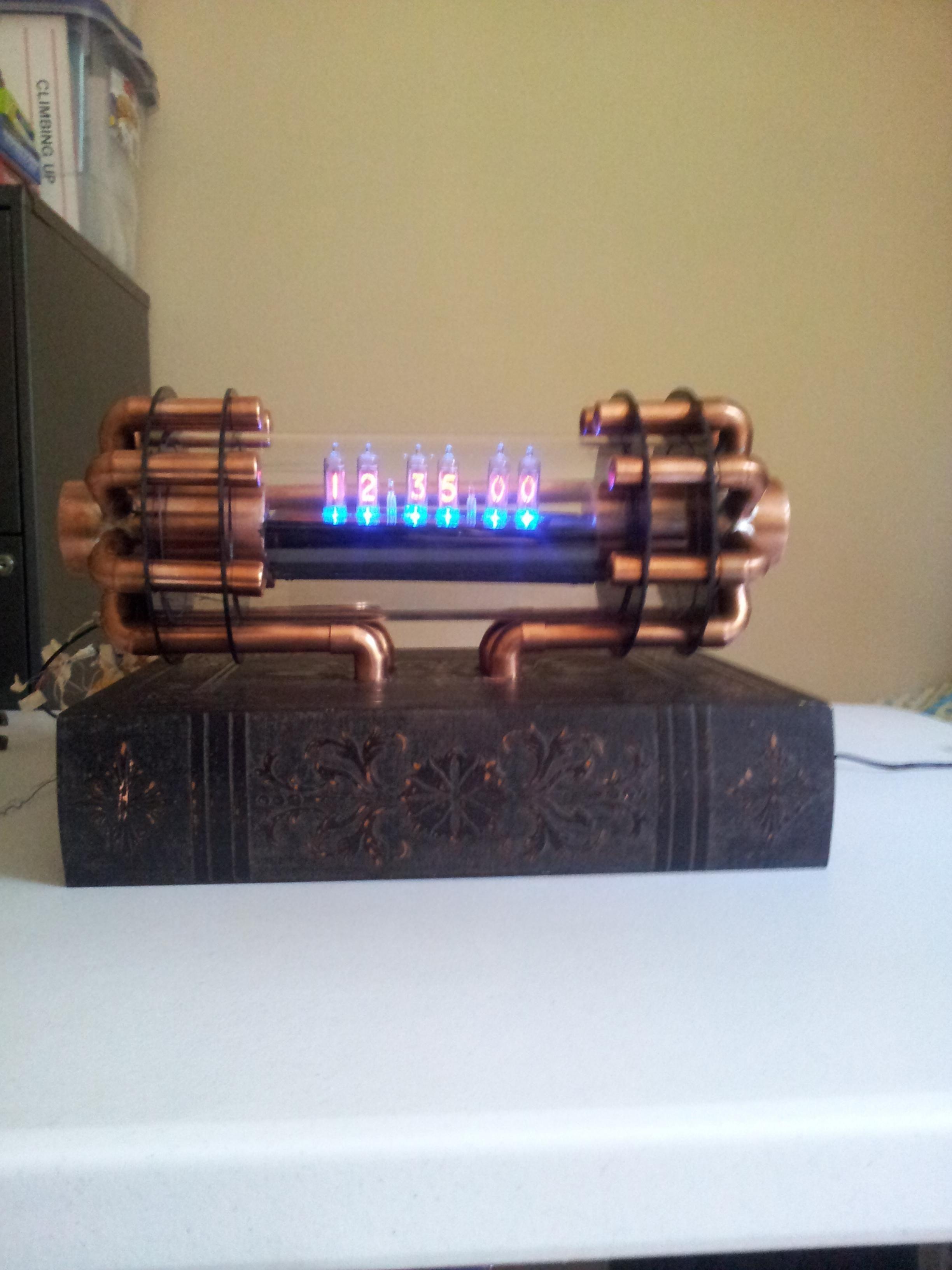 Nixie Clock With Copper Tubing Steampunk Clock Steampunk