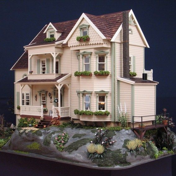 villa linda dollhouse for real dream home inspiration dollhouse pinterest. Black Bedroom Furniture Sets. Home Design Ideas