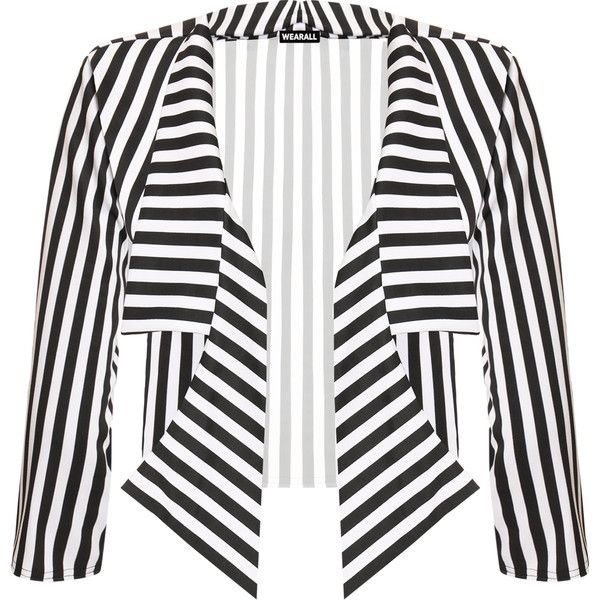 Ronda Striped Crop Waterfall Cardigan (£24) ❤ liked on Polyvore featuring tops, cardigans, black, crop top, patterned cardigans, striped cardigan, collar cardigan and long sleeve cropped cardigan