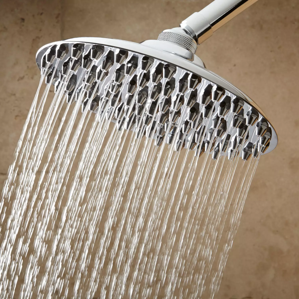 This Mid Size Wall Mount Shower Head Is Made Of Solid Brass And