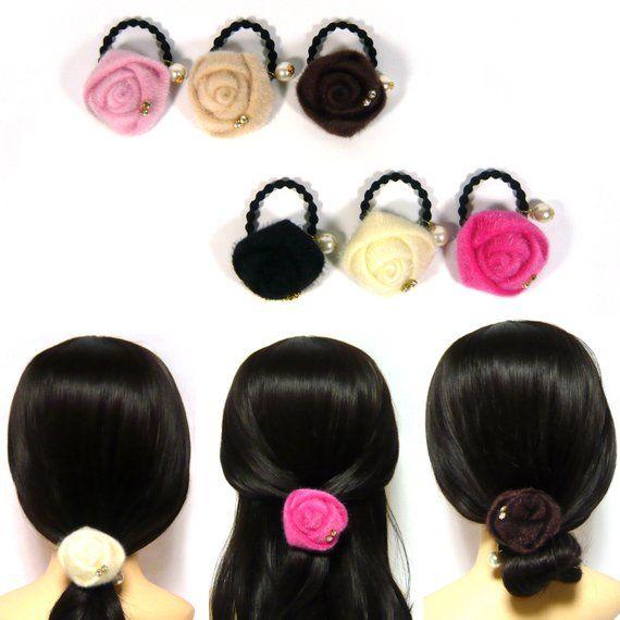 Faux Calf Hair Fur Fabric Rose Flower Dangle Pearl Elastic Ponytail Holder  Tie Band Ring Rope Women 97f43cc0257c