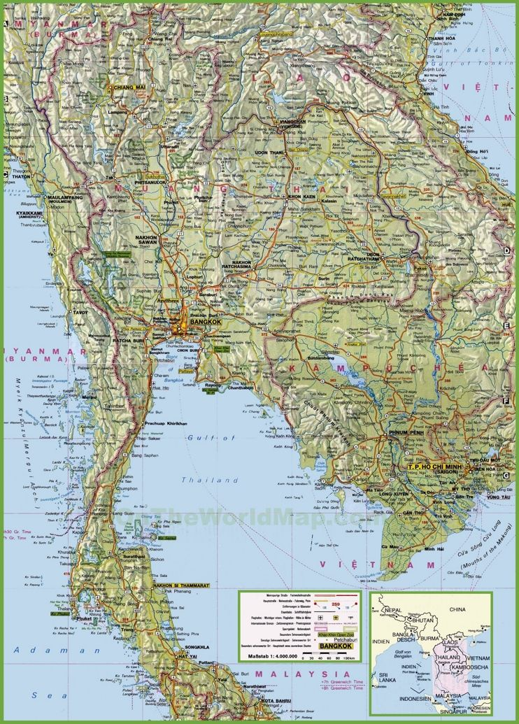 Large detailed map of Thailand with cities and towns Maps