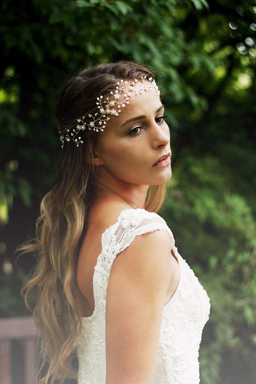 Bridal hair vine pearl and swarovski crystal floral boho