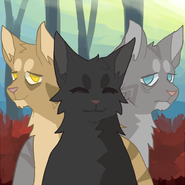 Lionblaze, Hollyleaf and Jayfeather. The power of three