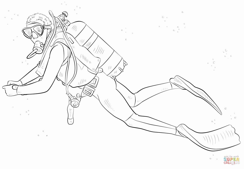 Scuba Diving Coloring Page Elegant Scuba Diver Coloring Page