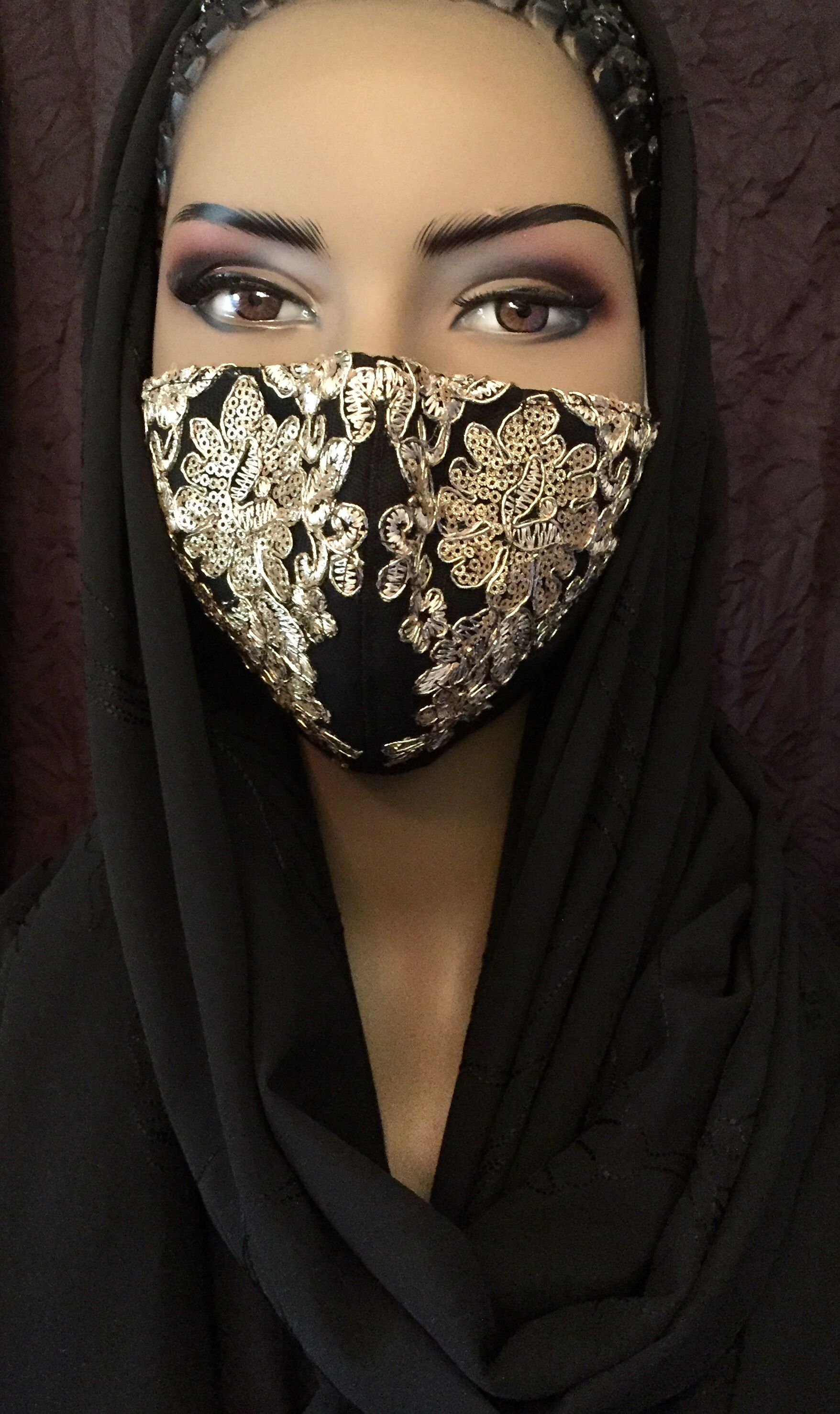 Black with Gold Sequin Lace Applique | Masked Opul