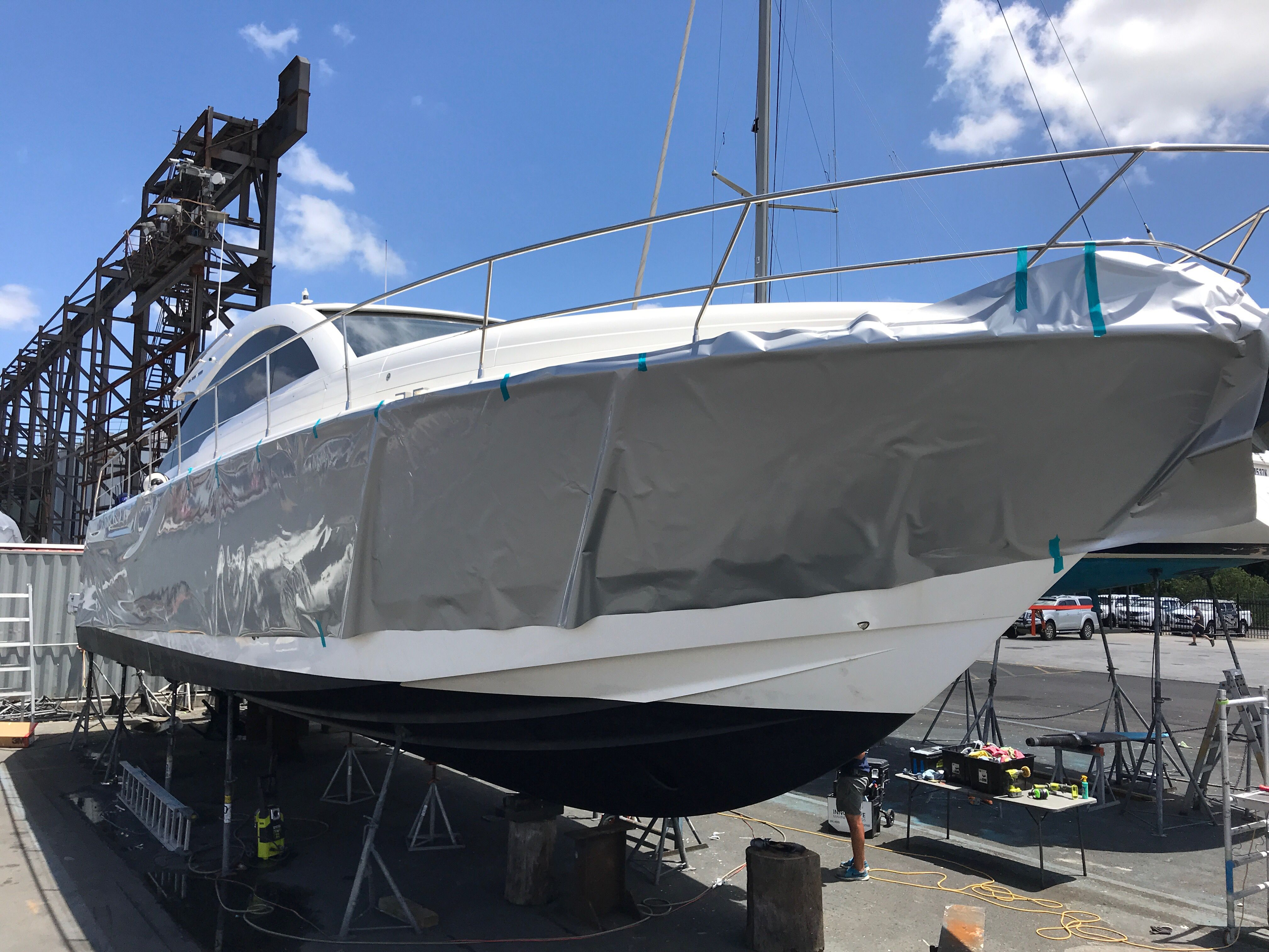Vinyl Boat Wrapping Of Hull And Cabin Don T Paint Your Boat Wrap It Boat Wraps Deck Designs Backyard Boat