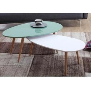 Stone Lot De 2 Tables Basses Menthe Et Blanc Laque Table Basse Table Meuble