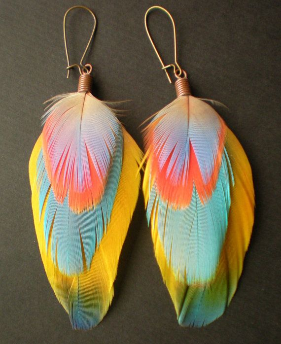 Feather Earrings via Etsy