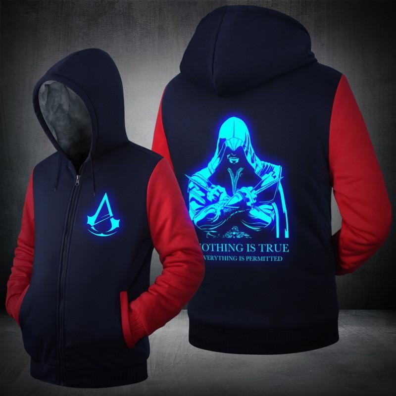 Assassins Creed Glow In The Dark Zip Up Hoodies Blue Black