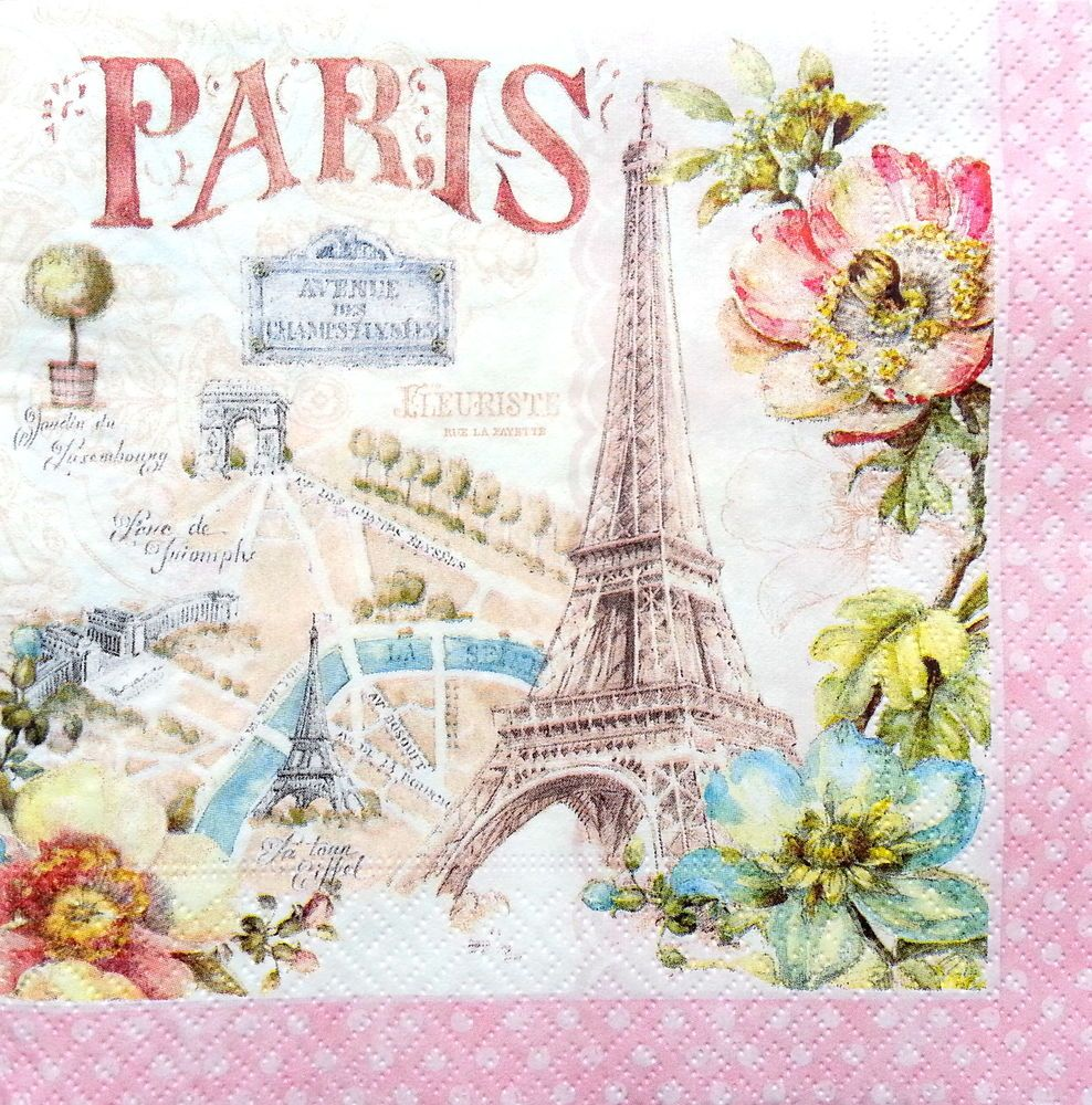 4 Single Vintage Table Paper Napkins Lunch for Decoupage Decopatch Happy Life