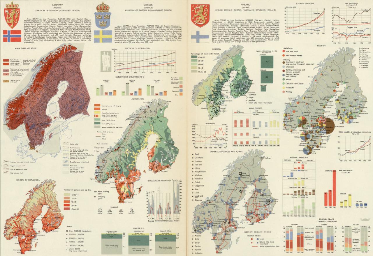 "mapsdesign: ""Norway, Sweden, Finland. Pergamon World Atlas by Polish on"