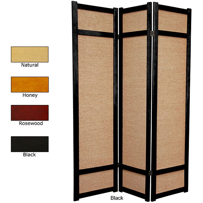 Handmade Wood and Jute 6 foot 3 panel Room Divider China by