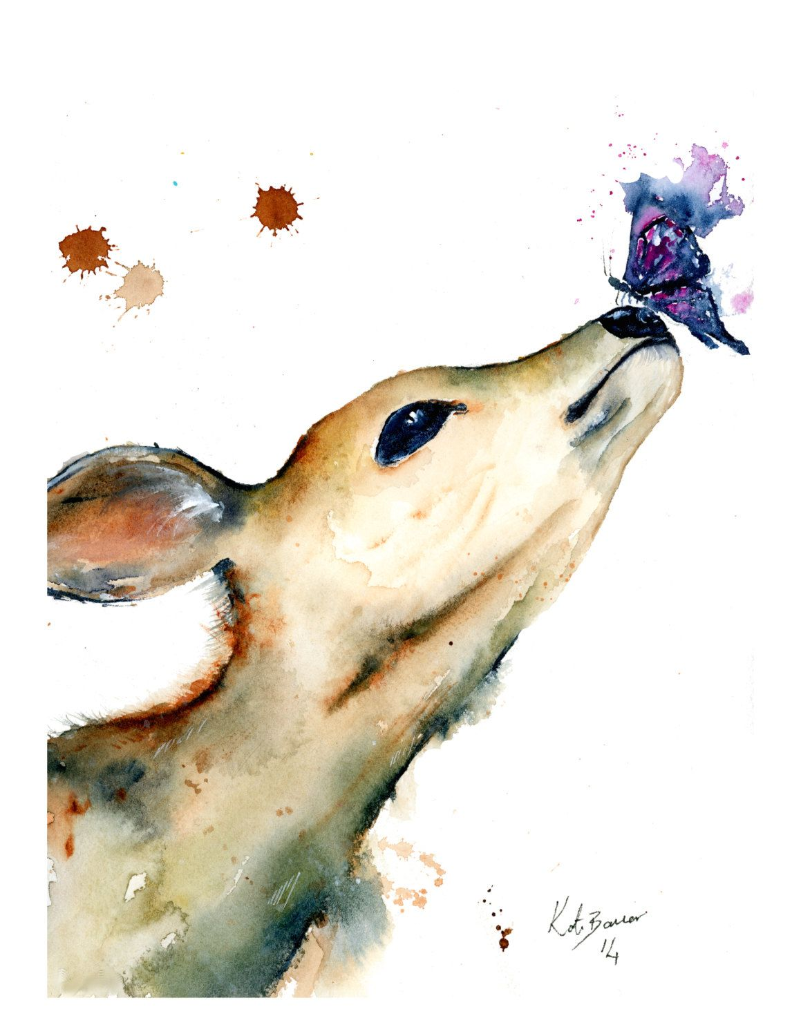 Watercolor books for sale -  Deer Friend By Artist Kate Bauer Watercolor Illustration For Sale As Print
