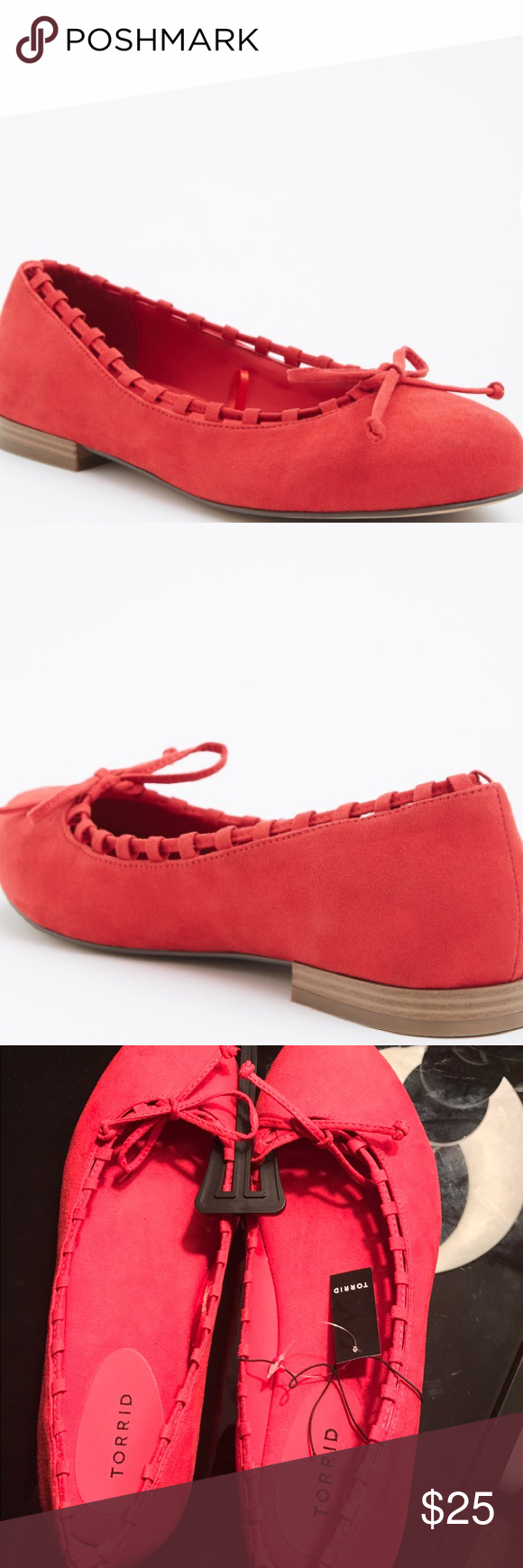 New torrid red ballet flats suede size