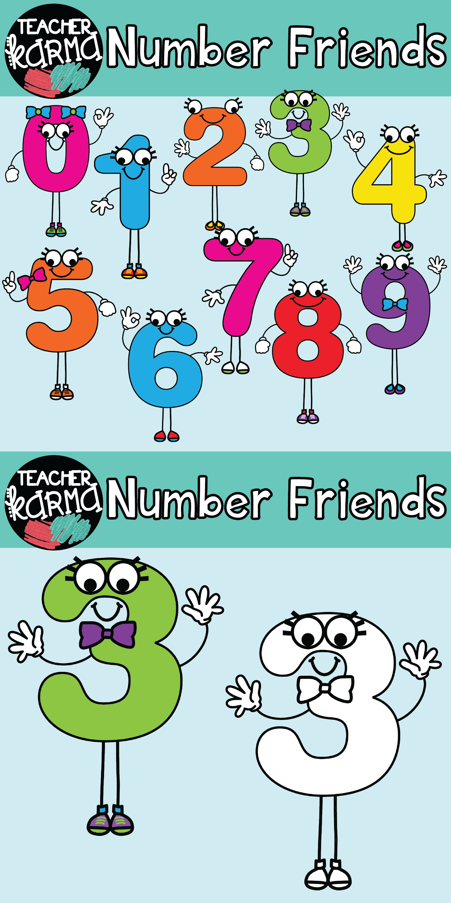 number friends math clipart. perfect for your classroom resources