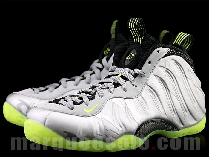 best sneakers 49c98 85d46 Silver and lime Nike Foamposite