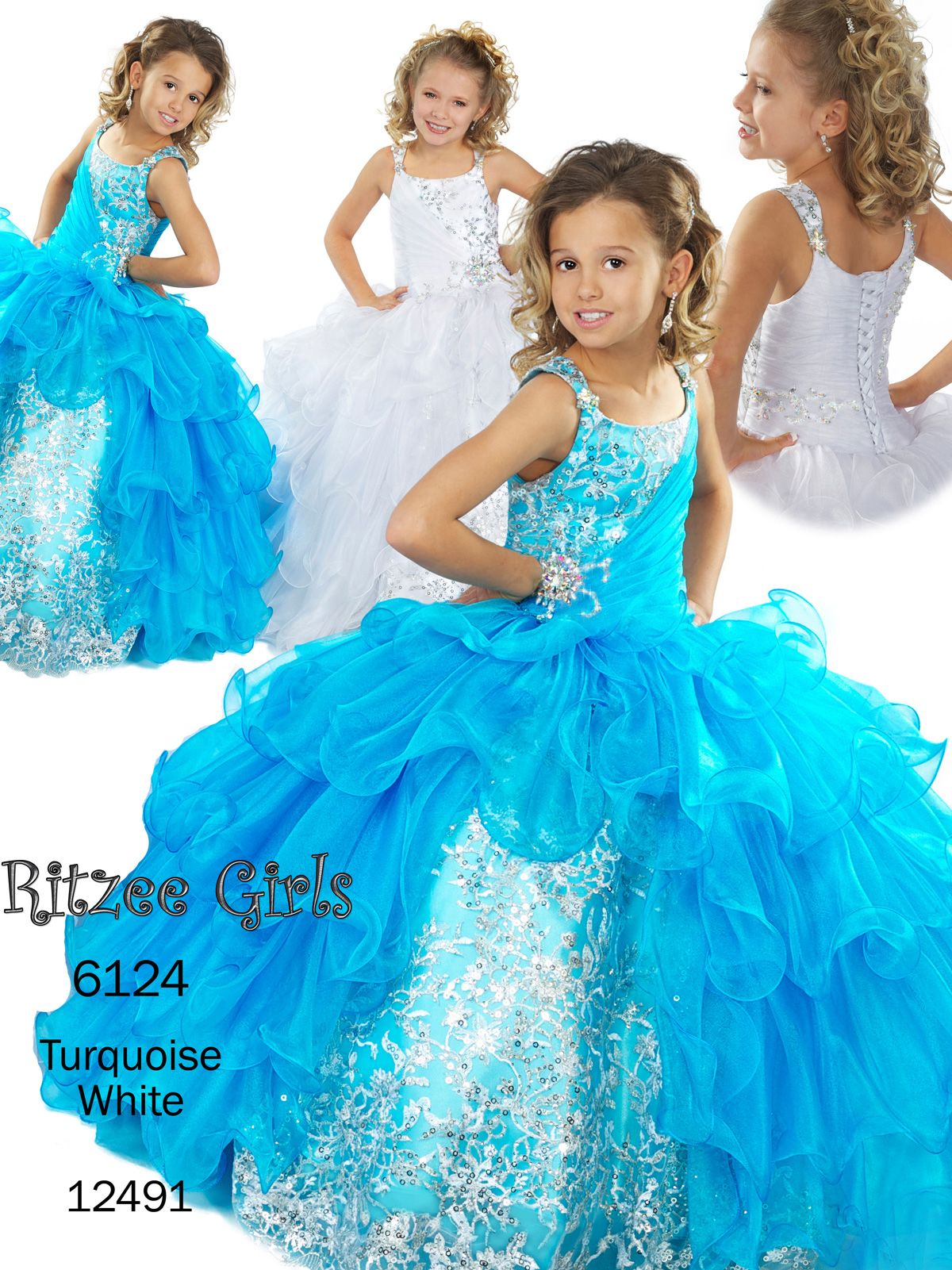 1959452b0491 Luxurious sequins/tulle pageant dress Ritzee Girls 6124. The beauty of the  crown will be the perfect match for this gown full of luxury and style.