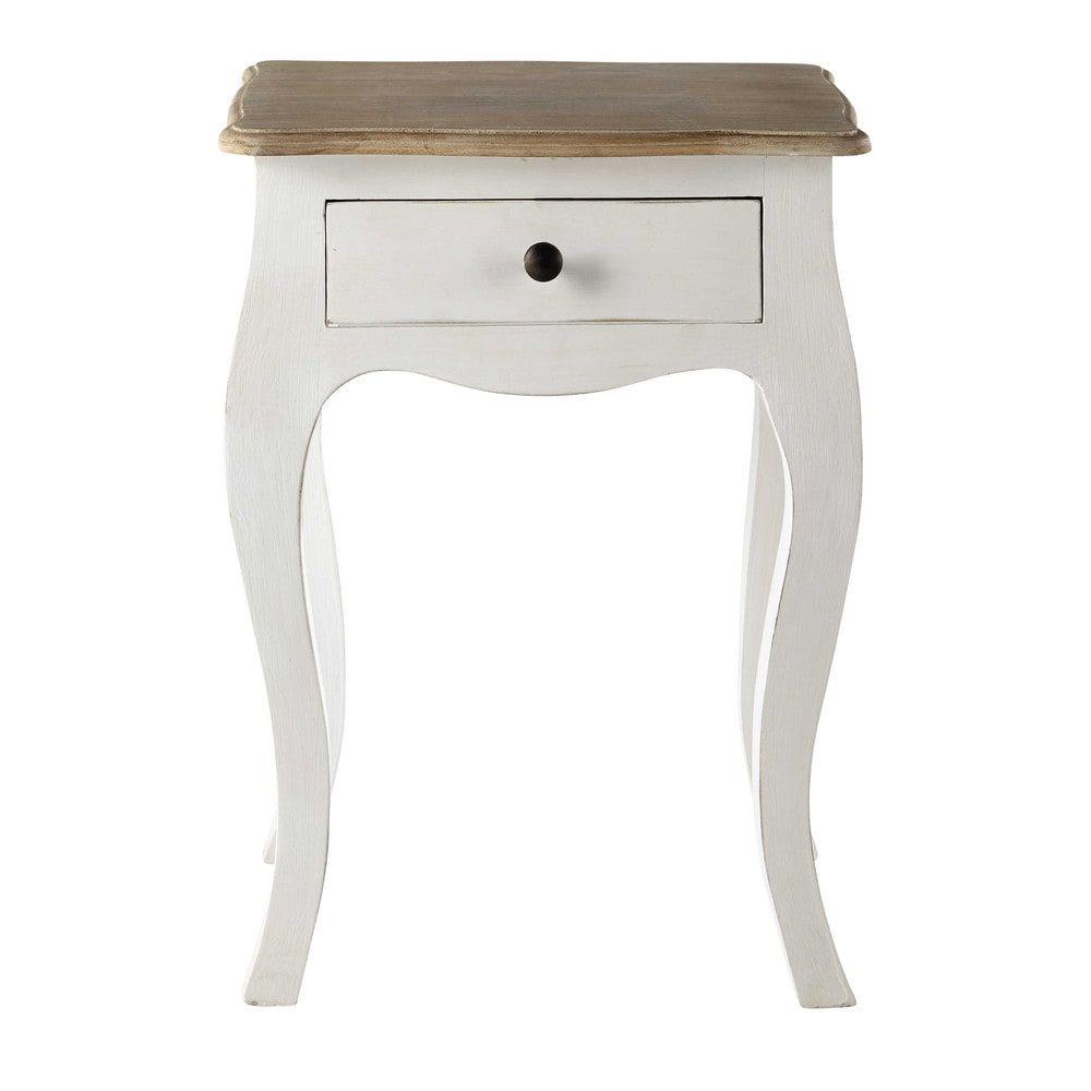 table de chevet avec tiroir en manguier blanc