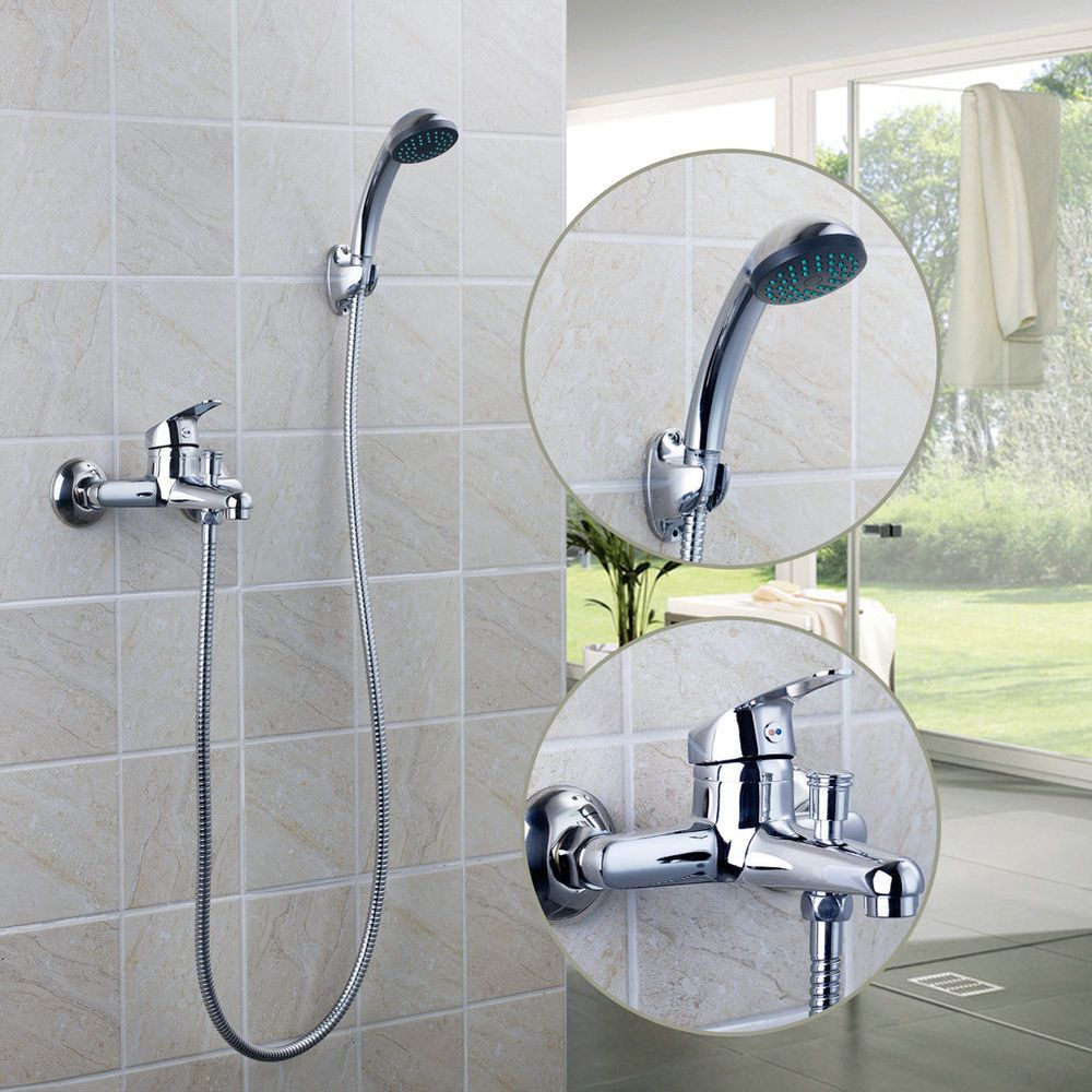 US Wall Installed Chrome Bathroom Tub Faucet Hand Shower Sprayer ...