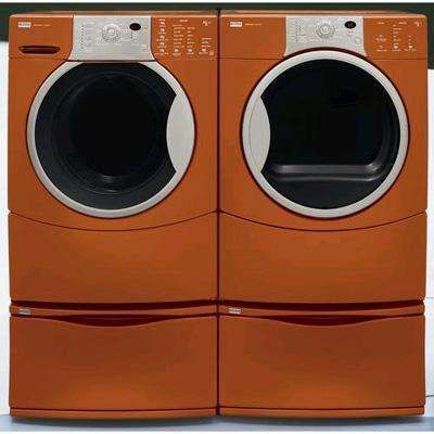 Colored Kitchen And Laundry Appliances Washer And Dryer Laundry Appliances Orange