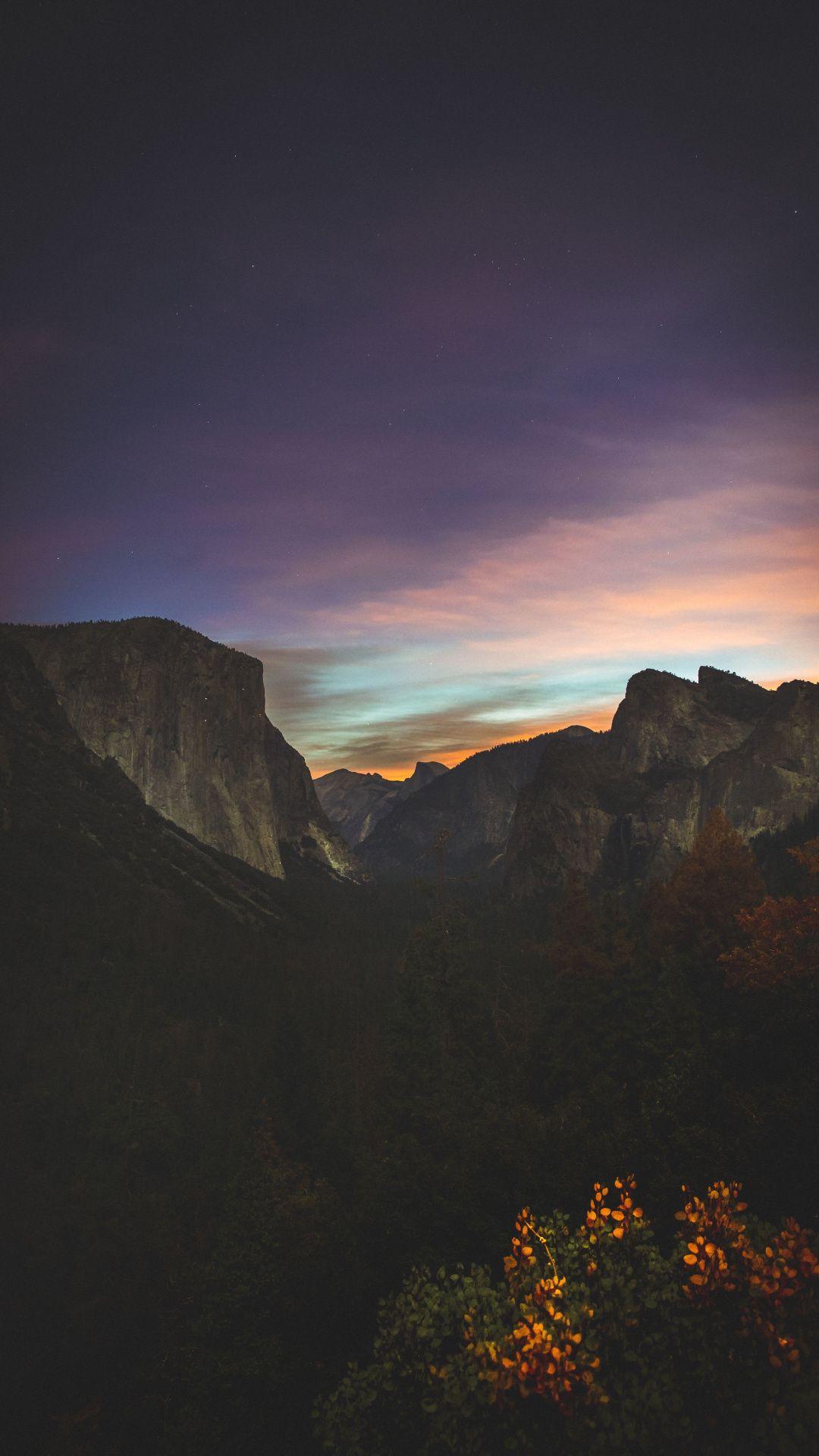 Yosemite Valley Mountains Sky Sunset Nature Night 1080x1920 Wallpaper Night Sky Wallpaper Beautiful Photography Nature Nature Photography