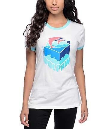6f49085f Pink Dolphin Depth Sample White & Aqua Ringer T-Shirt   winter bitch ...