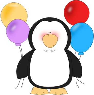 Penguin Holding Balloons Clip Art - Penguin Holding Balloons Image