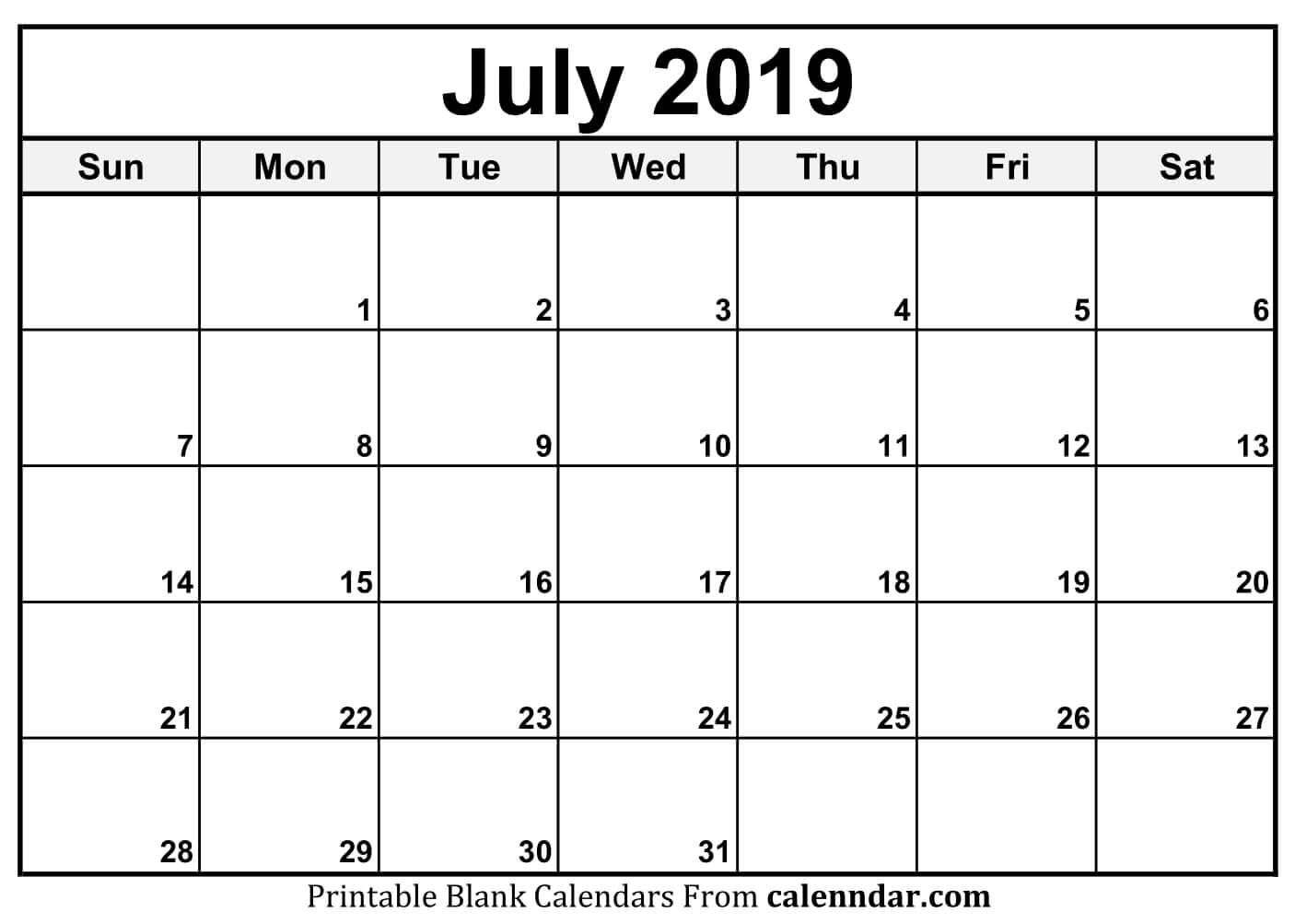 Editable July 2019 Calendar Printable Template With Holidays