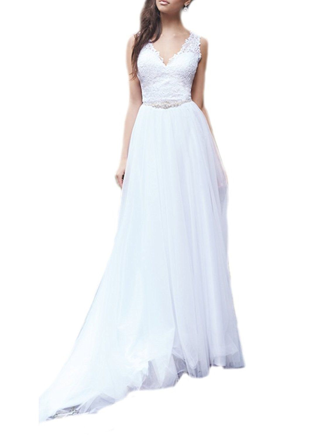 Retro wedding dress  DreHouse Womenus Lace Chiffon Vintage Wedding Dresses Beach Summer